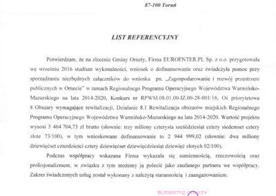 List referencyjny Orneta Zagospodarowanie i rozwój przestrzeni..